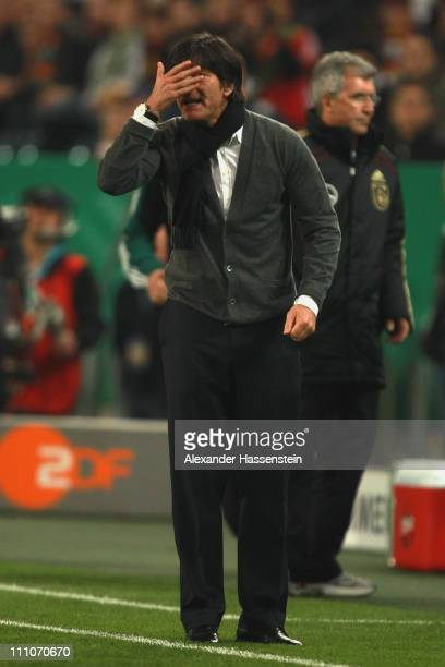 Joachim Loew, head coach of Germany reacts during the international friendly match between Germany and Australia at Borussia-Park on March 29, 2011...