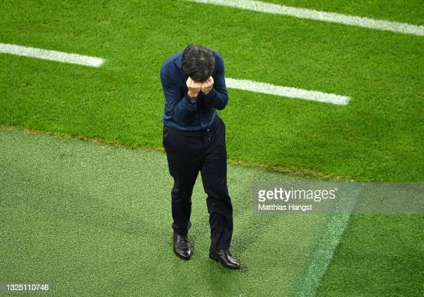 Joachim Loew, Head Coach of Germany reacts during the UEFA Euro 2020 Championship Group F match between Germany and Hungary at Allianz Arena on June...