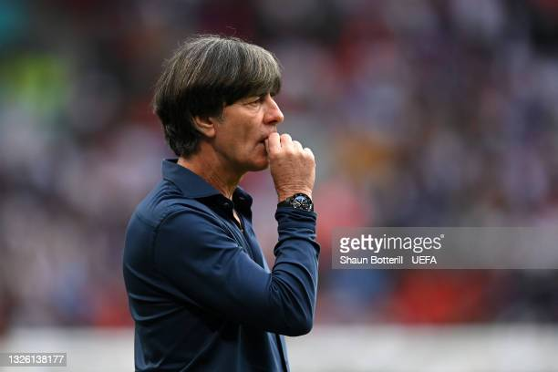 Joachim Loew, Head Coach of Germany reacts during the UEFA Euro 2020 Championship Round of 16 match between England and Germany at Wembley Stadium on...