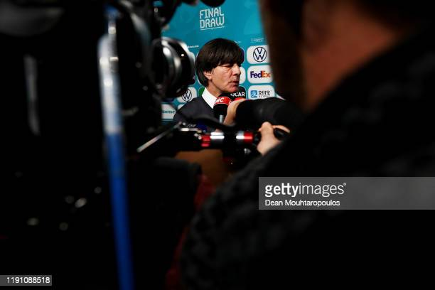 Joachim Loew Head Coach of Germany speaks to the media following the UEFA Euro 2020 Final Draw Ceremony at the Romexpo on November 30 2019 in...