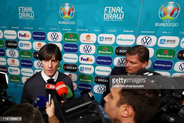 Joachim Loew, Head Coach of Germany speaks to the media following the UEFA Euro 2020 Final Draw Ceremony at the Romexpo on November 30, 2019 in...