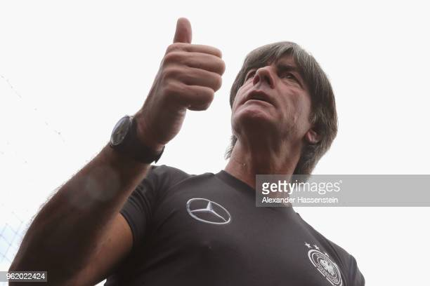 Joachim Loew head coach of Germany talks to the media after a press conference after a training session of the German national team at Sportanlage...