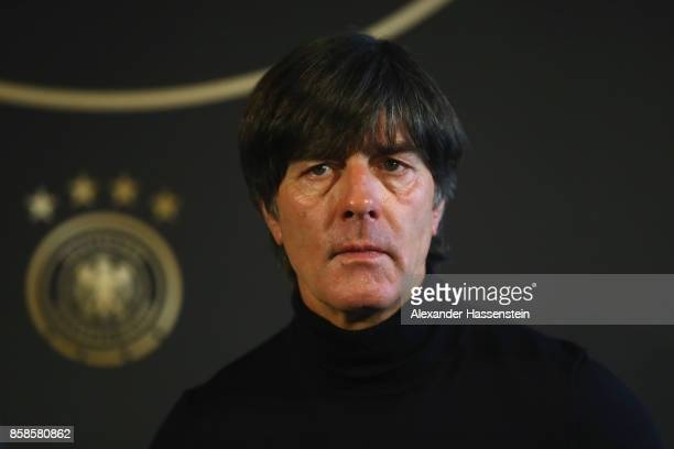 Joachim Loew head coach of Germany talks to the media during a DFB Press Conference at Hotel Hyatt Regency Mainz ahead of their FIFA 2018 World Cup...