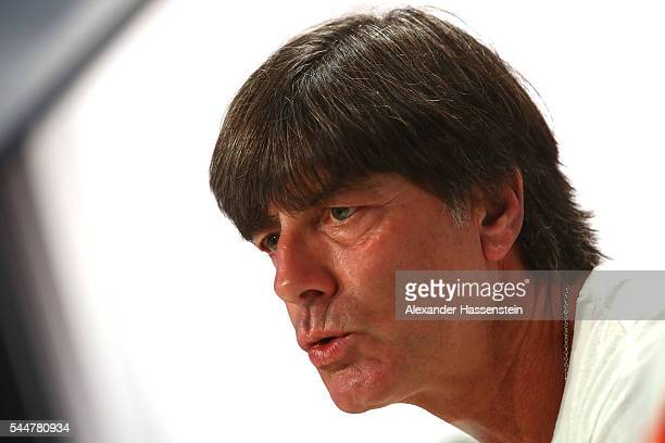 Joachim Loew head coach of Germany talks to the media during a Germany press conference at Ermitage Evian on July 04 2016 in EvianlesBains France