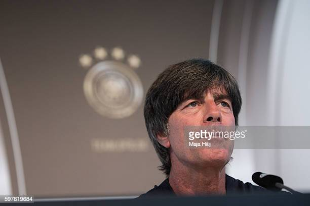 Joachim Loew head coach of Germany talks to the media during a Germany press conference on August 29 2016 in Duesseldorf Germany