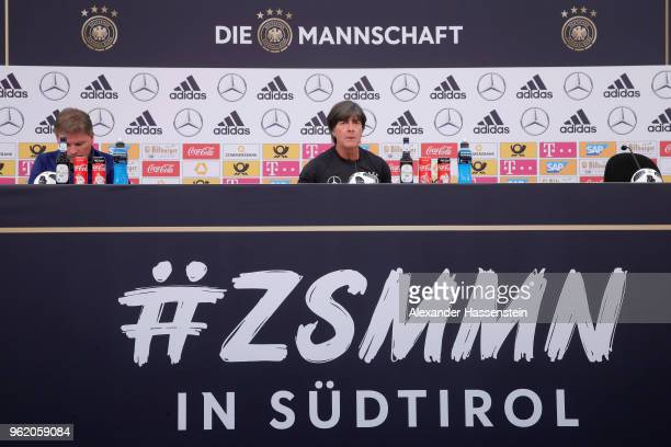 Joachim Loew head coach of Germany talks to the media during a press conference after a training session of the German national team at Sportanlage...