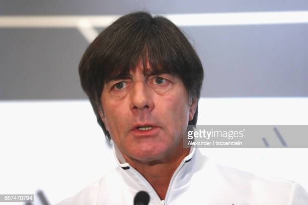 Joachim Loew head coach of Germany talks to the media during a team Germany press conference at Stormont Ballroom at Hastings Stormont Hotel on...