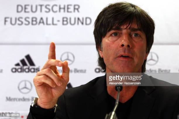 Joachim Loew, head coach of Germany talsk to the media during a press conference ahead of their UEFA EURO 2012 qualifying match against Austria on...