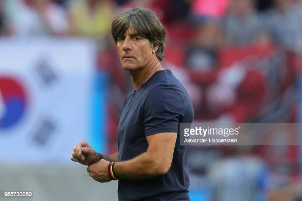 Joachim Loew head coach of Germany walks over the field after loosing the 2018 FIFA World Cup Russia group F match between Korea Republic and Germany...