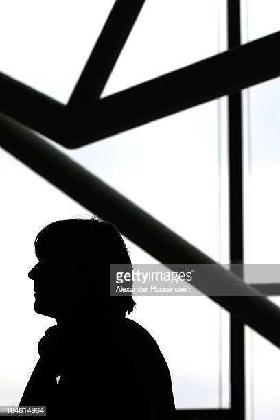 Joachim Loew head coach of team Germany looks on after a press conference of the German national football team at adidas World of Sports Brand Center...