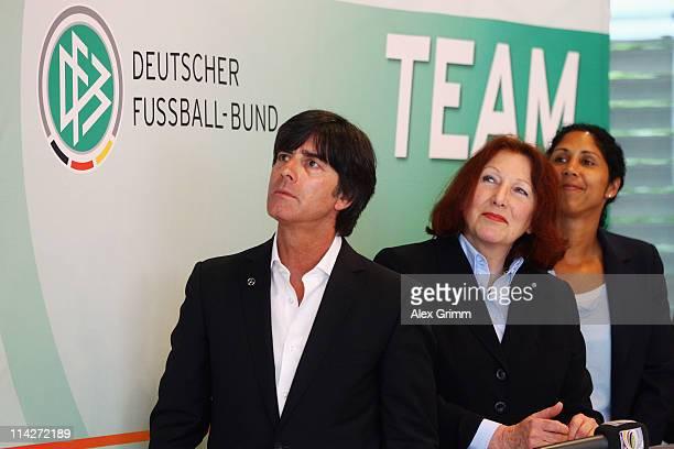 Joachim Loew head coach of the German national football team Elisabeth Pott director of the Federal Centre for Health Education and Steffi Jones head...