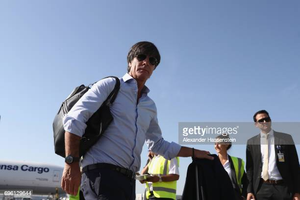 Joachim Loew head coach of the German national team arrive with the team at Frankfurt am Main International Airport to depart to Sochi International...