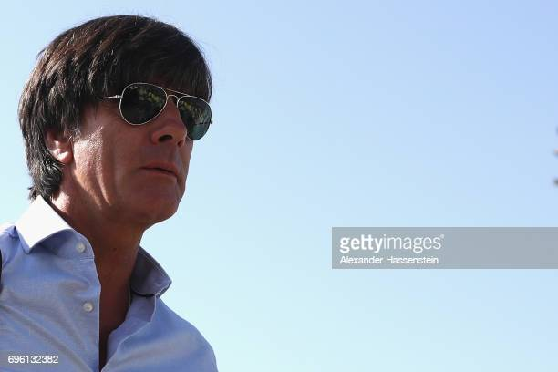 Joachim Loew head coach of the German national team arrive with the team at Frankfurt am Main International Airport to depart to Sochi International...