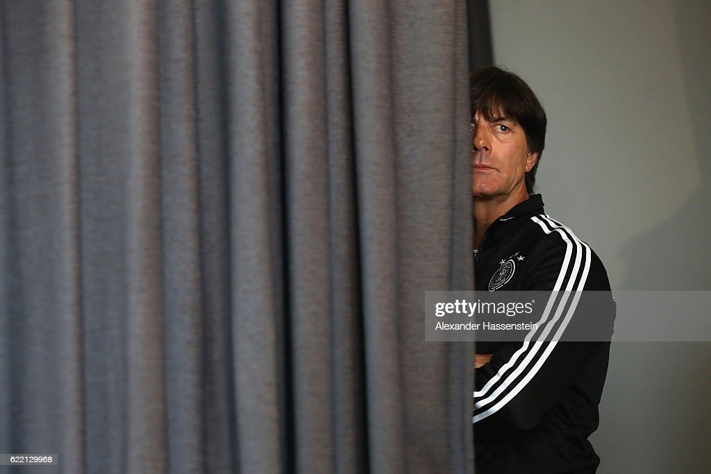 Joachim Loew, head coach of the German national team arrives for a press conference of the German national team ahead of the FIFA 2018 World Cup qualifying group C match against San Mariono at Hotel Savoia Lungomare on November 10, 2016 in Rimini, Italy.