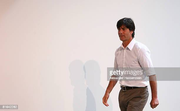 Joachim Loew head coach of the German national team arrives for a press conference at the Centro Sportivo Tenero on June 20 2008 in Tenero Switzerland