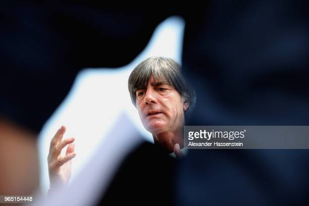 Joachim Loew head coach of the German national team arrives for a press conference of the German national team at Sportanlage Rungg on day ten of the...