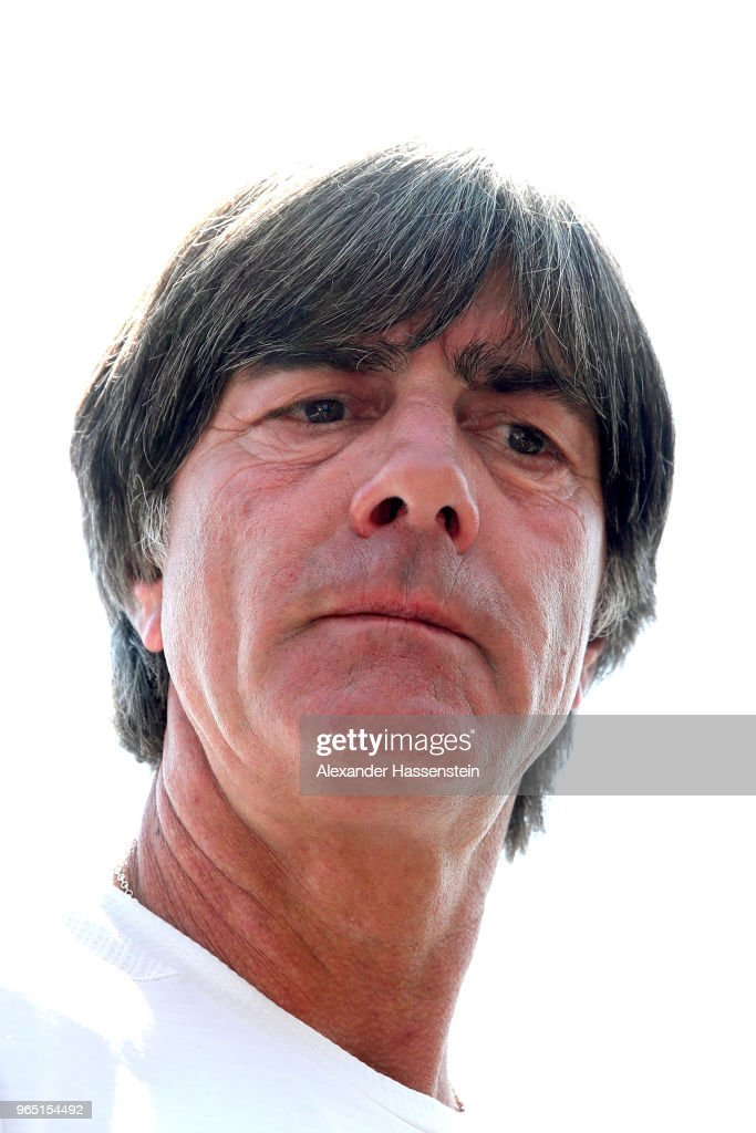 Joachim Loew, head coach of the German national team arrives for a press conference of the German national team at Sportanlage Rungg on day ten of the Southern Tyrol Training Camp on June 1, 2018 in Eppan, Italy.