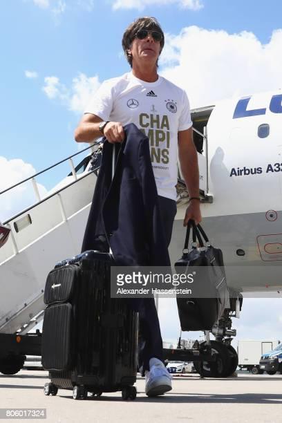 Joachim Loew head coach of the German national team arrives with his team at Frankfurt am Main International Airpoport on July 3 2017 in Frankfurt am...