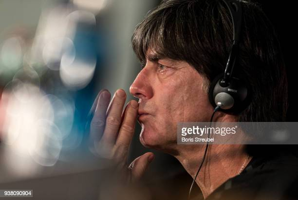 Joachim Loew head coach of the German National Team attends a press conference at Mercedes Benz on March 26 2018 in Berlin Germany
