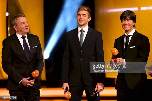 Joachim Loew head coach of the German national team Christoph Kramer of team Germany and Wolfgang Niersbach President of the German Football...