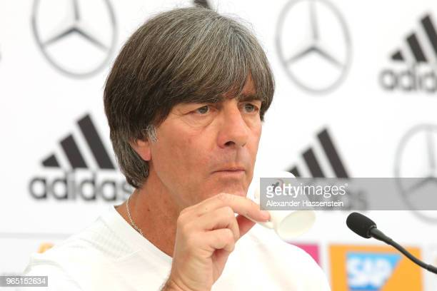 Joachim Loew head coach of the German national team enjoys an Espresso during a press conference of the German national team at Sportanlage Rungg on...