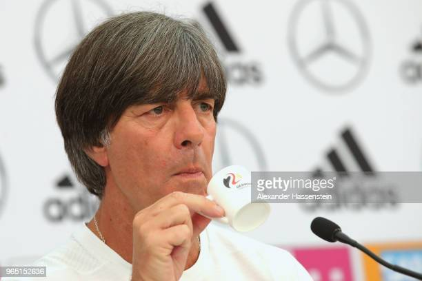 Joachim Loew head coach of the German national team enjoys an Espresso during a press conference of the German national team at Sportanlage Rungg on...