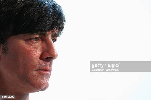 Joachim Loew head coach of the German national team looks on during a press conference at the Centro Sportivo Tenero on June 20 2008 in Tenero...