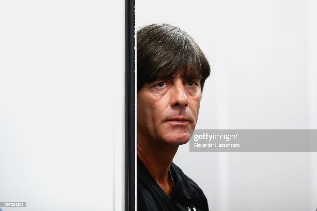 Joachim Loew, head coach of the German national team looks on prior to a team Germany press conference at Fisht stadium on June 18, 2017 in Sochi, Russia. Germany will play against Australia on their Group B FIFA Confederation Cup Russia 2017 match on June 19, 2017 in Sochi, Russia.