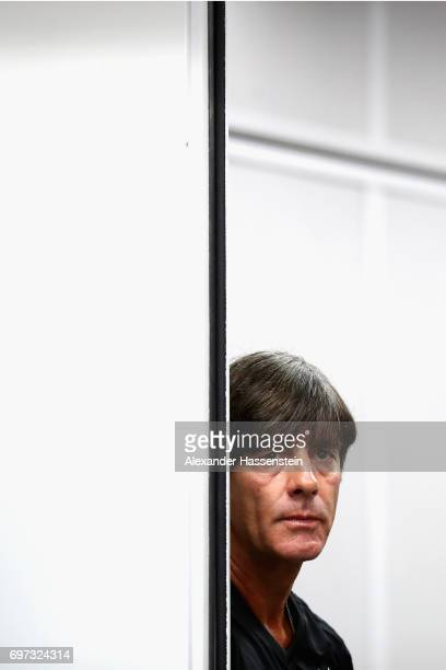 Joachim Loew head coach of the German national team looks on prior to a team Germany press conference at Fisht stadium on June 18 2017 in Sochi...