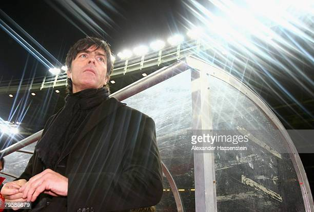 Joachim Loew, head coach of the German national team looks on prior to the friendly match between Austria and Germany at the Ernst Happel stadium on...