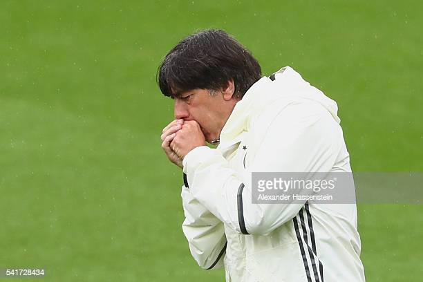 Joachim Loew head coach of the German national team reacts during a team Germany training session ahead of the UEFA EURO 2016 Group C match between...