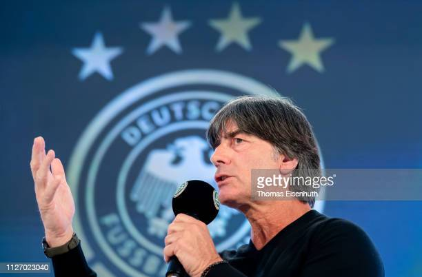 Joachim Loew head coach of the german national team speaks on the stage during day 3 of the DFB Amateur Football Congress at Hotel La Strada on...