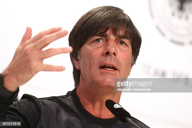 Joachim Loew head coach of the German national team talks to the media during a Germany press conference at Ermitage Evian on June 18 2016 in...