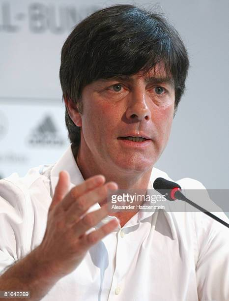 Joachim Loew head coach of the German national team talks to the media during a press conference at the Centro Sportivo Tenero on June 20 2008 in...