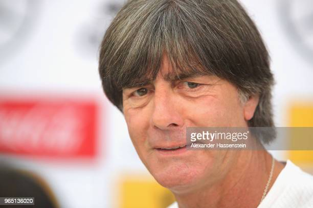 Joachim Loew head coach of the German national team talks to the media during a press conference of the German national team at Sportanlage Rungg on...