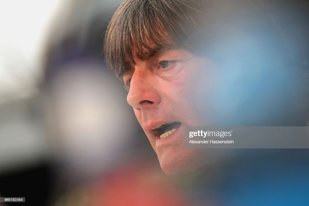 Joachim Loew, head coach of the German national team talks to the media during a press conference of the German national team at Sportanlage Rungg on day ten of the Southern Tyrol Training Camp on June 1, 2018 in Eppan, Italy.