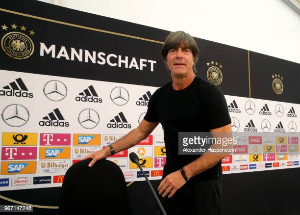 Joachim Loew, head coach of the German national team talks to the media during a press conference at Sportanlage Rungg on June 4, 2018 in Eppan,...
