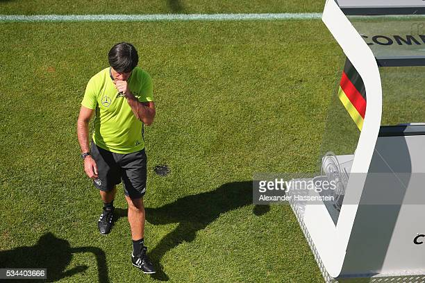 Joachim Loew head coach of the Germany national team looks on during a training session at stadio communale on day 3 of the German national team...