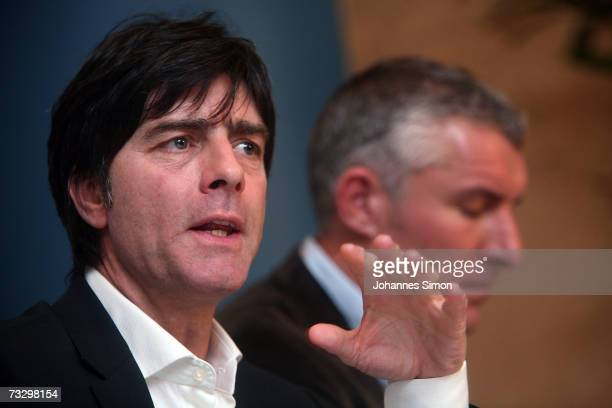Joachim Loew headcoach of the German national soccer team and Mirko Slomka headcoach of Germany's top soccer club FC Schalke 04 adress the media...