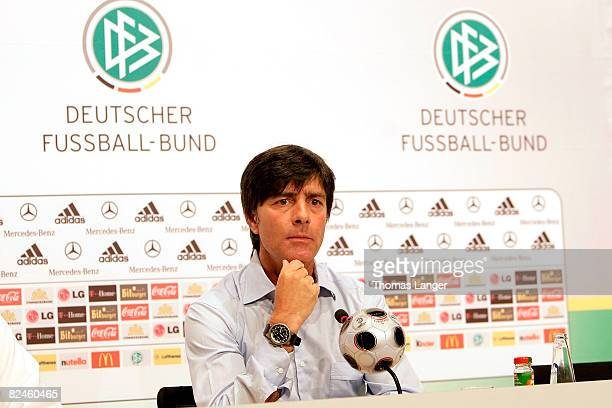 Joachim Loew is seen during a press conference at the Adidas Brand Center on August 19 2008 in Herzogenaurach Germany