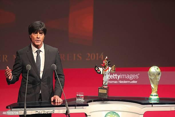 Joachim Loew is seen with the Media Award during the German Media Award 2014 on January 23 2015 in BadenBaden Germany