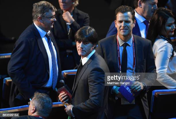 Joachim Loew, Manager of Germany and Oliver Bierhoff arrive prior to the Final Draw for the 2018 FIFA World Cup Russia at the State Kremlin Palace on...