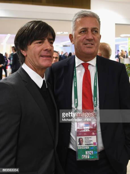 Joachim Loew Manager of Germany and Vladimir Petkovic Manager of Switzerland looks on prior to the Final Draw for the 2018 FIFA World Cup Russia at...
