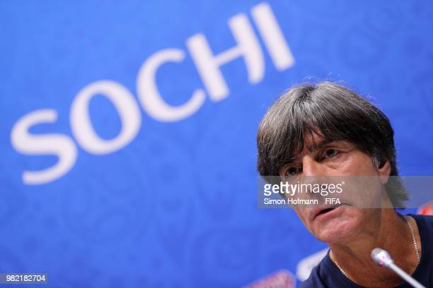 Joachim Loew Manager of Germany attends the post mactch press conference followingthe 2018 FIFA World Cup Russia group F match between Germany and...