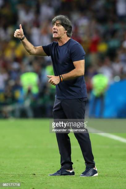 Joachim Loew Manager of Germany celebrates his team second goal during the 2018 FIFA World Cup Russia group F match between Germany and Sweden at...