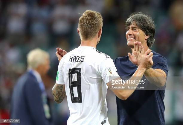 Joachim Loew Manager of Germany hugs Toni Kroos following the 2018 FIFA World Cup Russia group F match between Germany and Sweden at Fisht Stadium on...