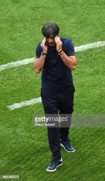 Joachim Loew Manager of Germany looks dejected during the 2018 FIFA World Cup Russia group F match between Korea Republic and Germany at Kazan Arena...