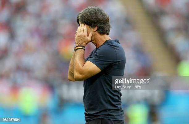 Joachim Loew Manager of Germany looks dejected following his sides defeat during the 2018 FIFA World Cup Russia group F match between Korea Republic...