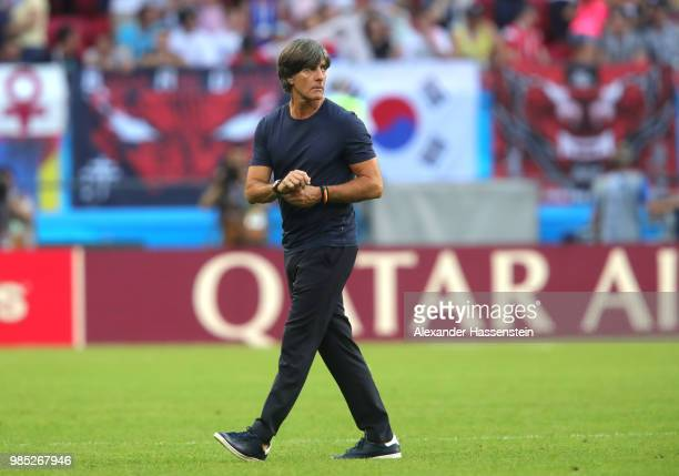 Joachim Loew Manager of Germany looks dejected following his sides defeat in the 2018 FIFA World Cup Russia group F match between Korea Republic and...