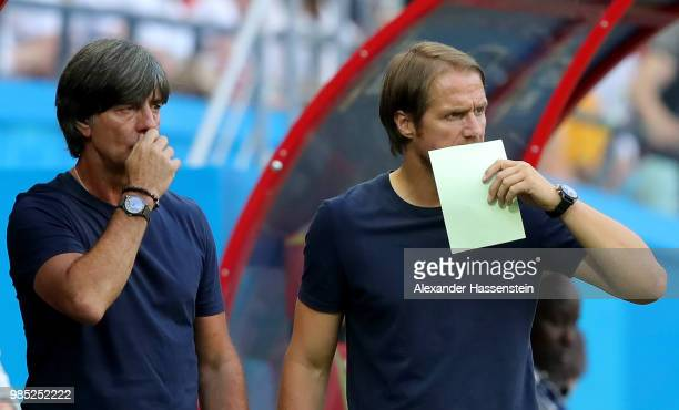 Joachim Loew Manager of Germany looks on during the 2018 FIFA World Cup Russia group F match between Korea Republic and Germany at Kazan Arena on...